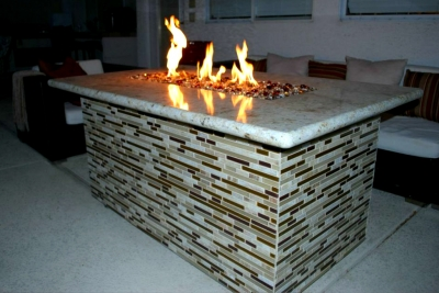 clean burning Propane fireglass fire pit