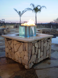 custom outdoor fire and water foutain feature 1