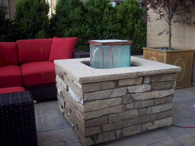 custom outdoor fire and water foutain feature 17